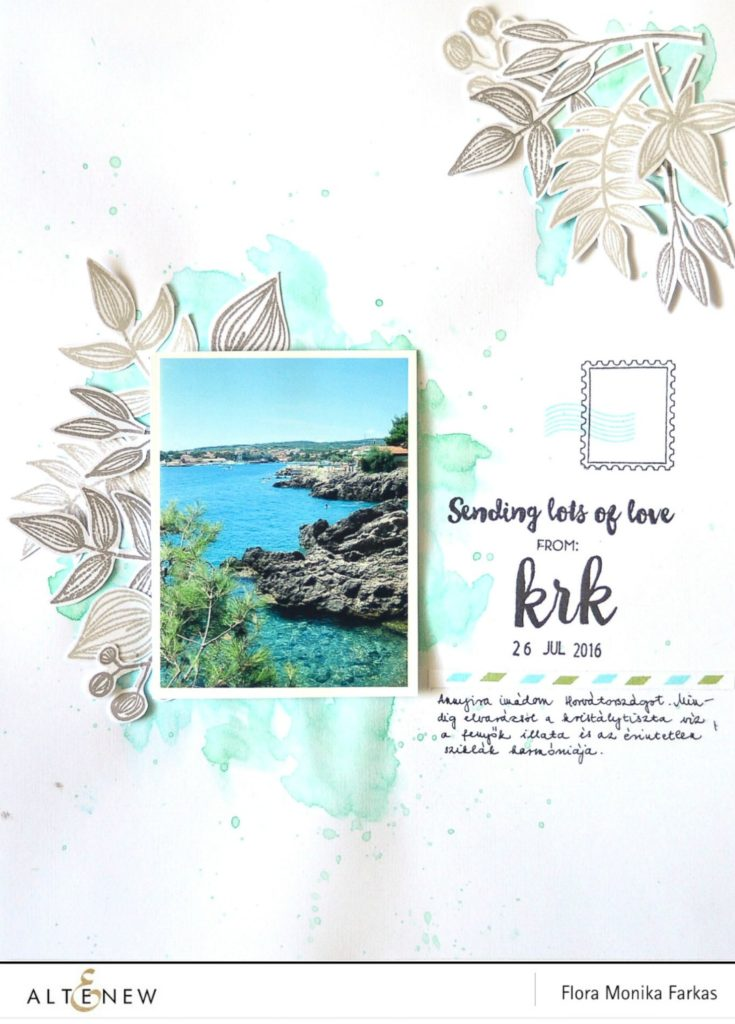 altenew postcard scrapbook layout