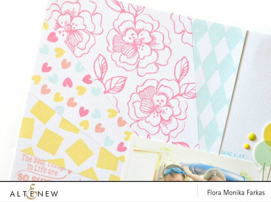 altenew stamping on scrapbook layout