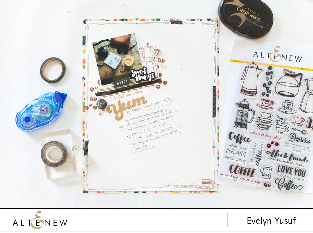@altenew coffee stamp scrapbook @geekgalz