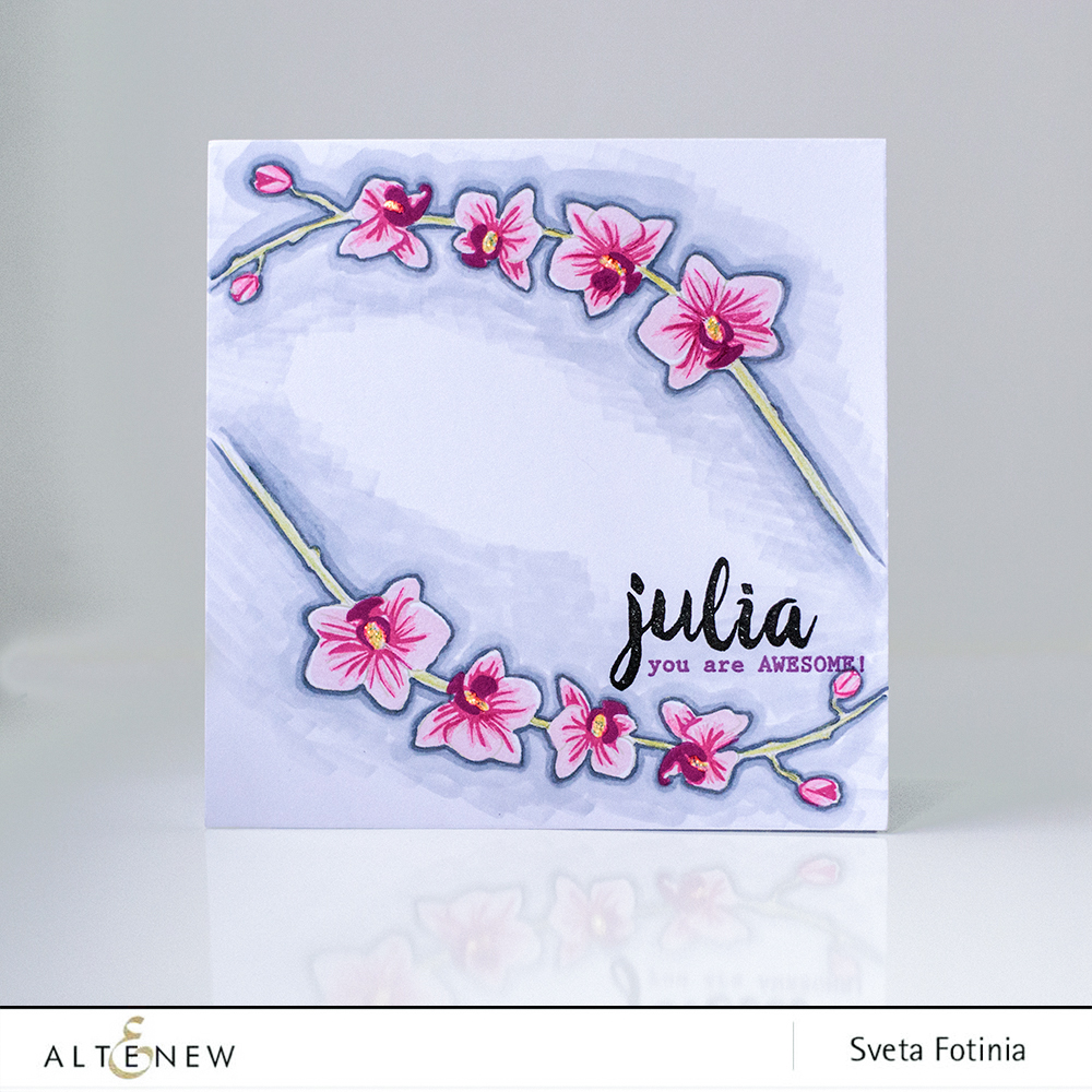 Personalised greeting cards using calligraphy alpha stamp
