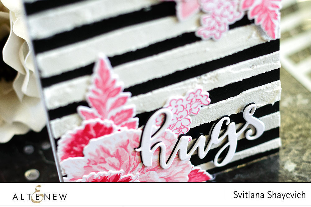 Pink Floral Black And White Striped Card Altenew Blog