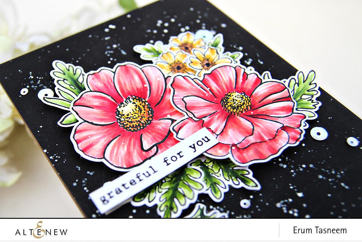 Altenew Build-A-Flower: Anemone Coronaria + Garden Treasure colored with Artist Markers | Erum Tasneem | @pr0digy0