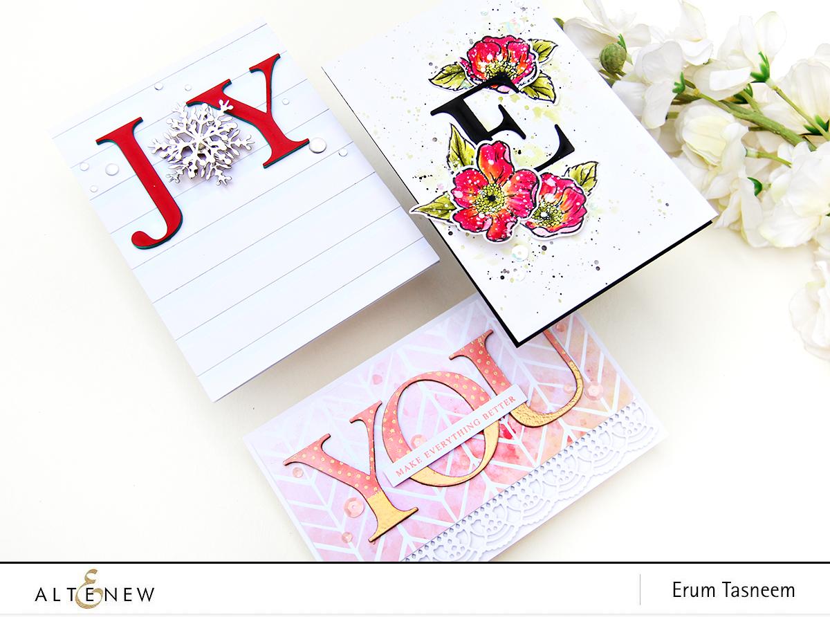 Altenew Classic Alphabet Die Set + Always There Stamp Set+ Layered Snowflake Dies   Erum Tasneem   @pr0digy0