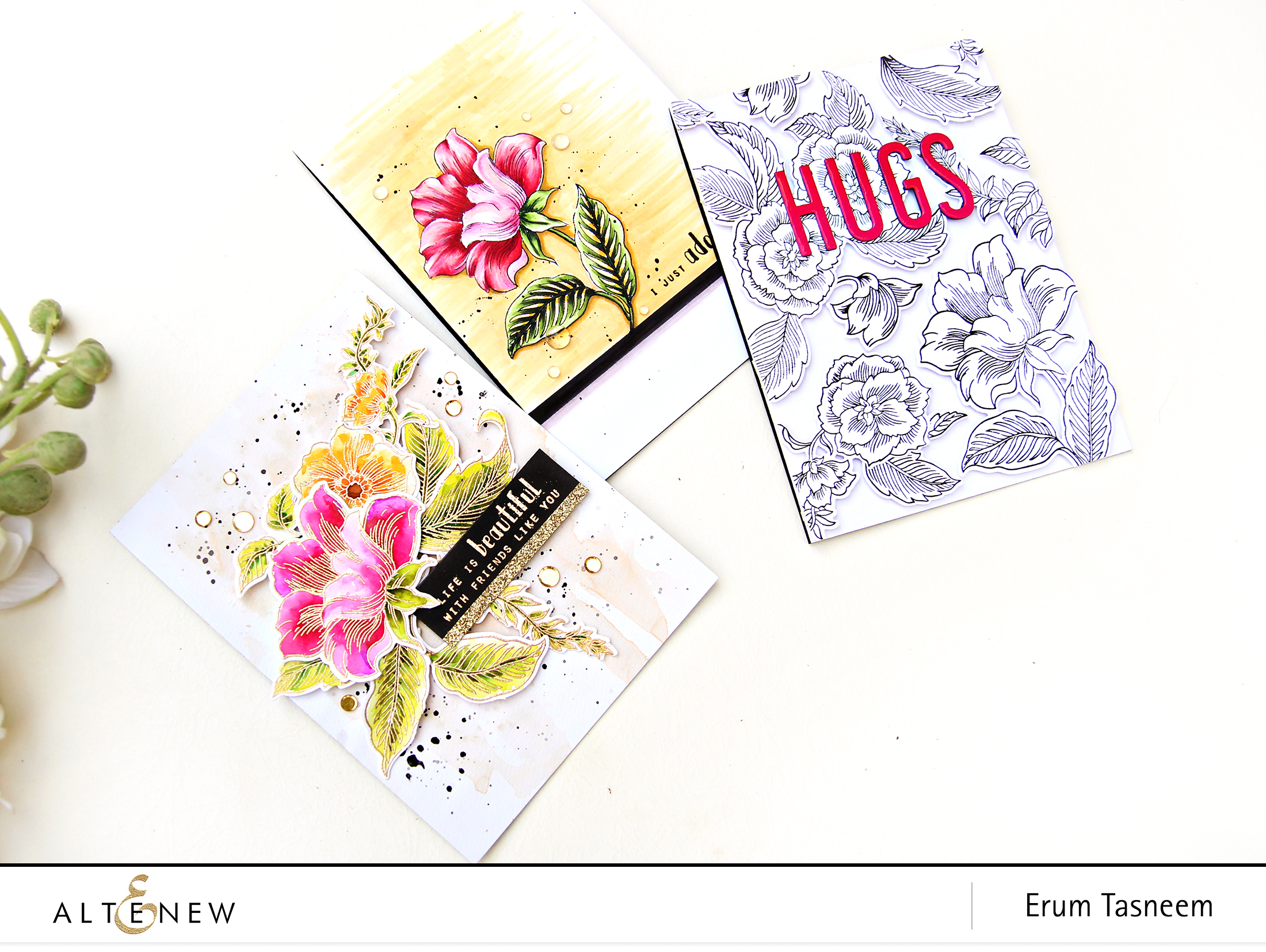 Altenew Stamp Focus: Engraved Flowers Stamp Set | Erum Tasneem | @pr0digy0